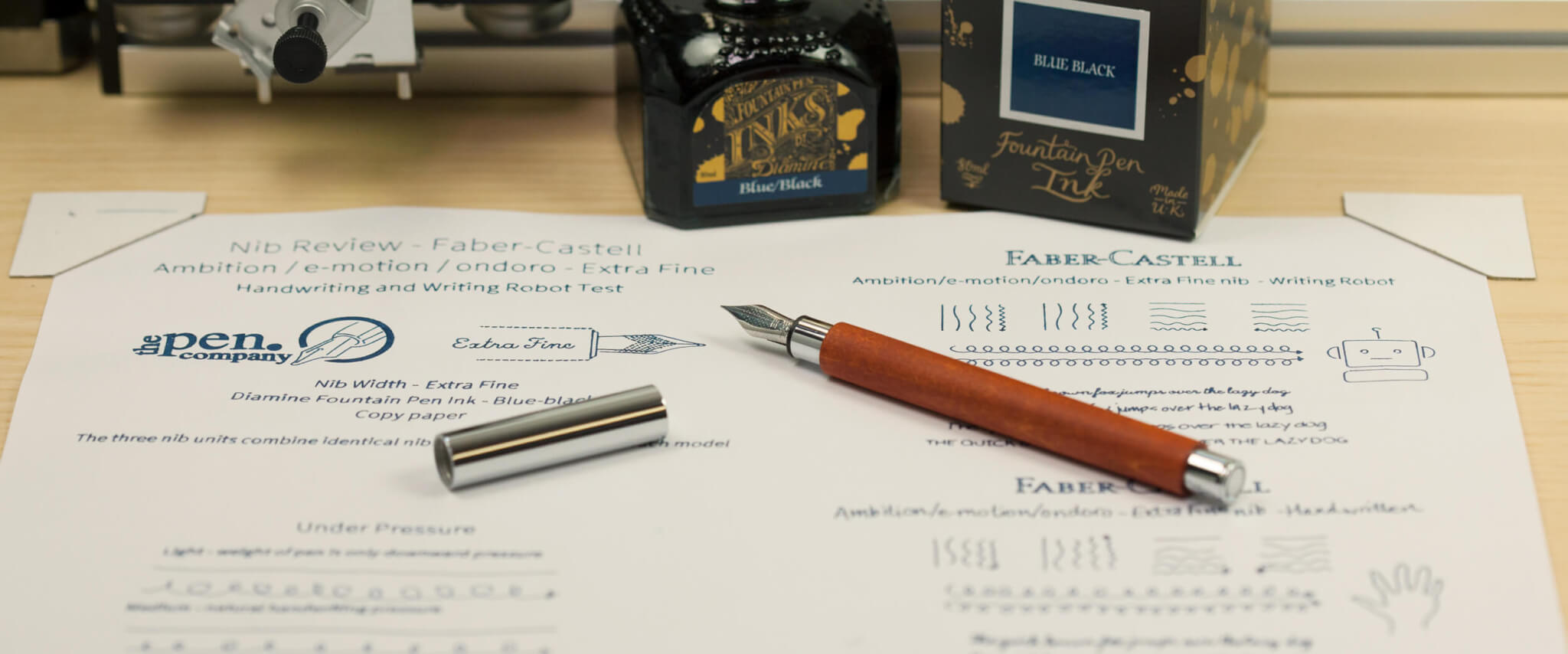 Faber-Castell with Diamine ink and writing robot