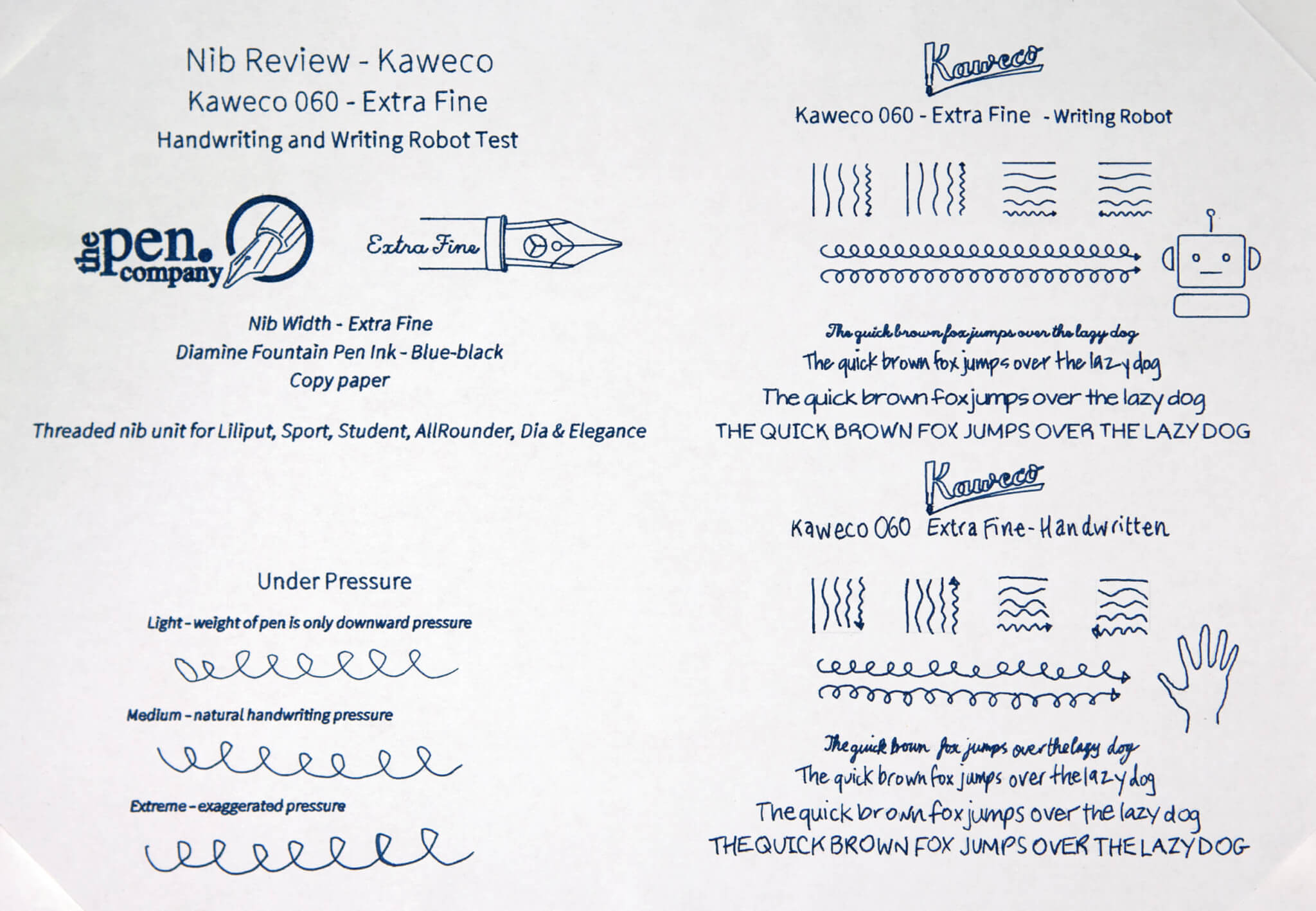 Kaweco writing robot and handwriting test