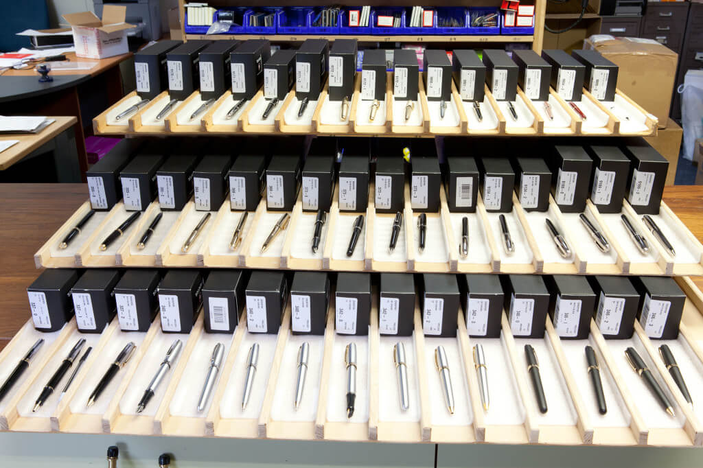 Some of our new Sheaffer stock waiting to be photographed.