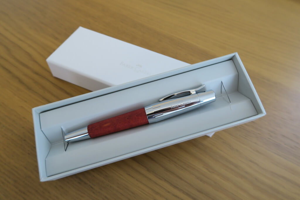 The Faber-Castell E-Motion fountain pen in brown - boxed