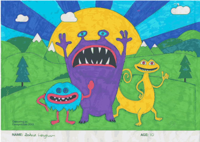 Joshua Langham – Age 10 – Colouring Competition Entry