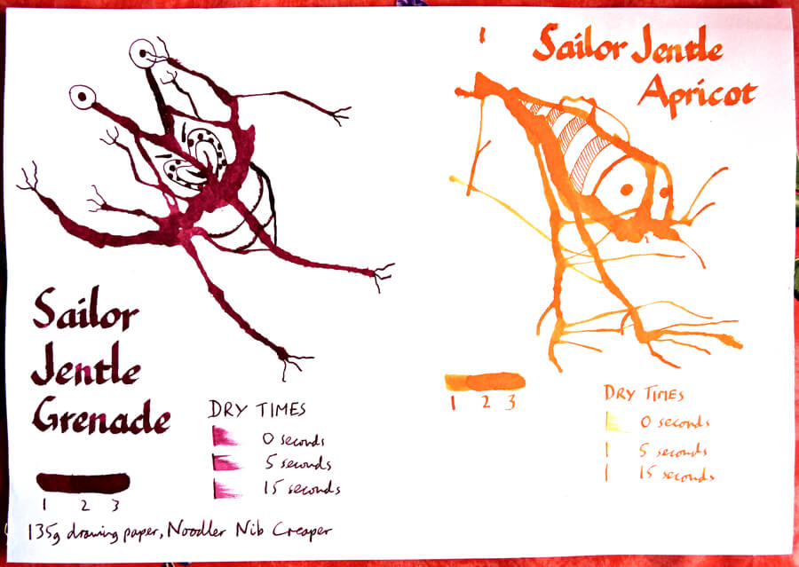 Sailor Jentle Grenade and Apricot ink review Inklings