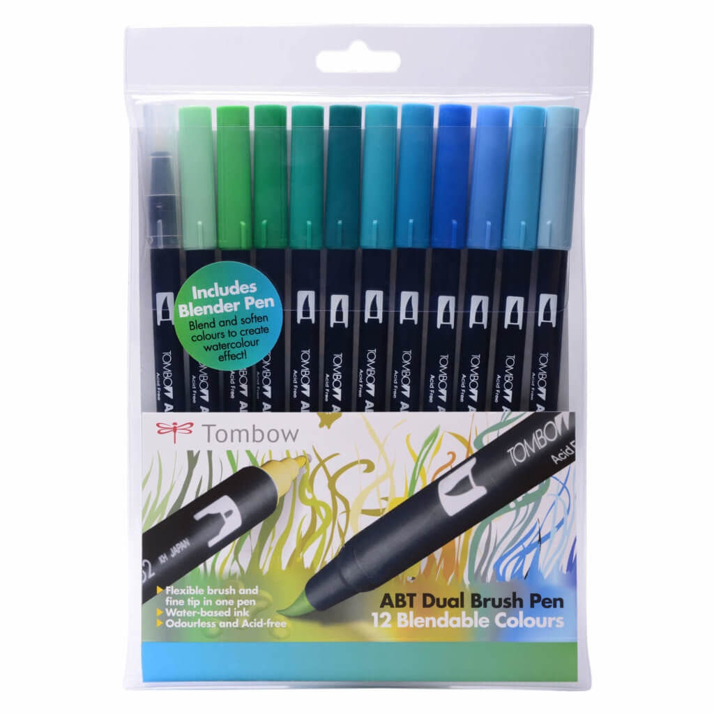 Tombow ABT Dual Brush Pens - pack of 12 in the Ocean colourway