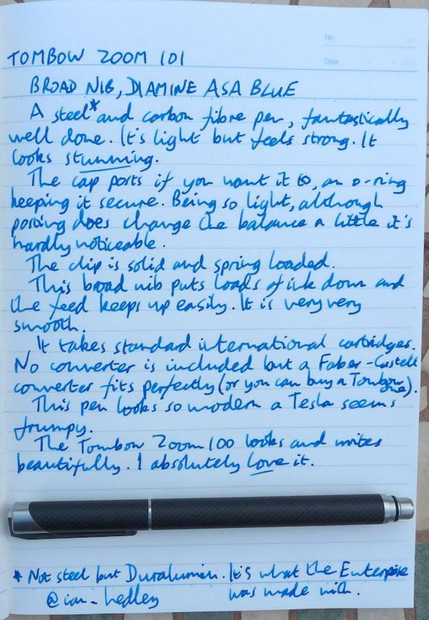 Tombow Zoom 101 handwritten review