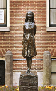 Anne Frank statue in Amsterdam, the Netherlands