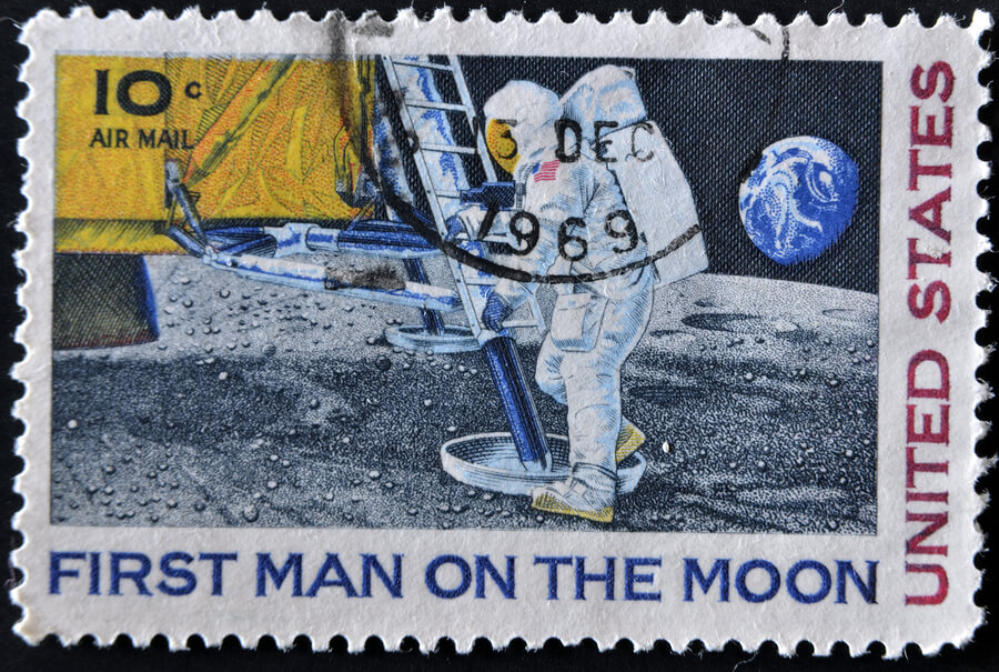A 'first man on the moon' stamp