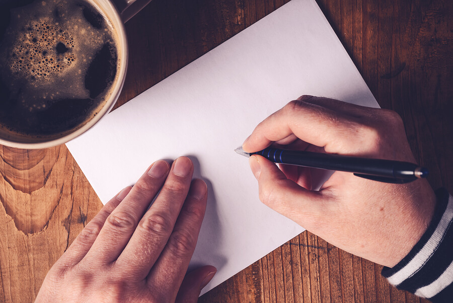 Writing letter to a pen pal