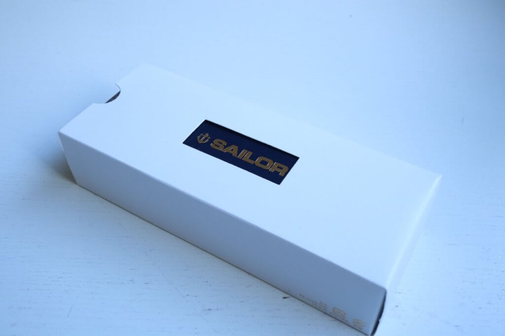 The white sleeve of the box for the Sailor 1911 Ringless fountain pen