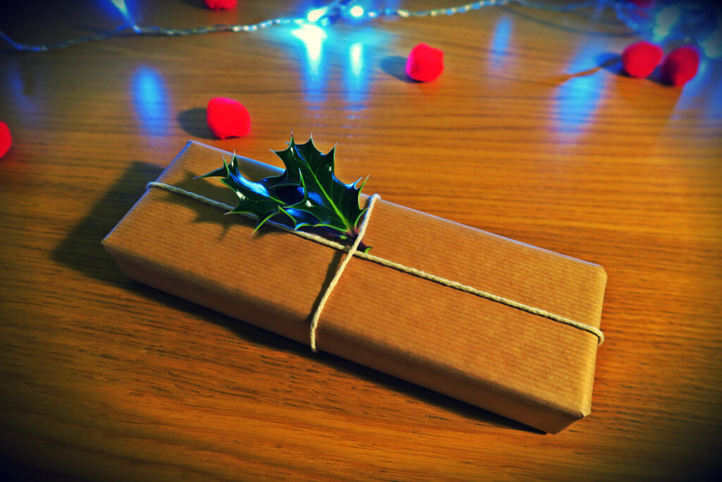 handmade holly gift wrap