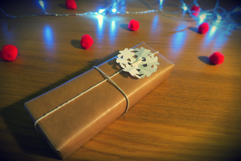 snowflake gift wrap for Christmas