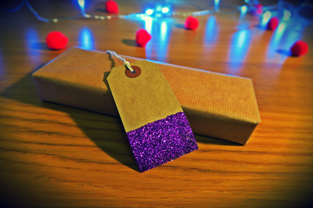homemade purple glittery gift tag