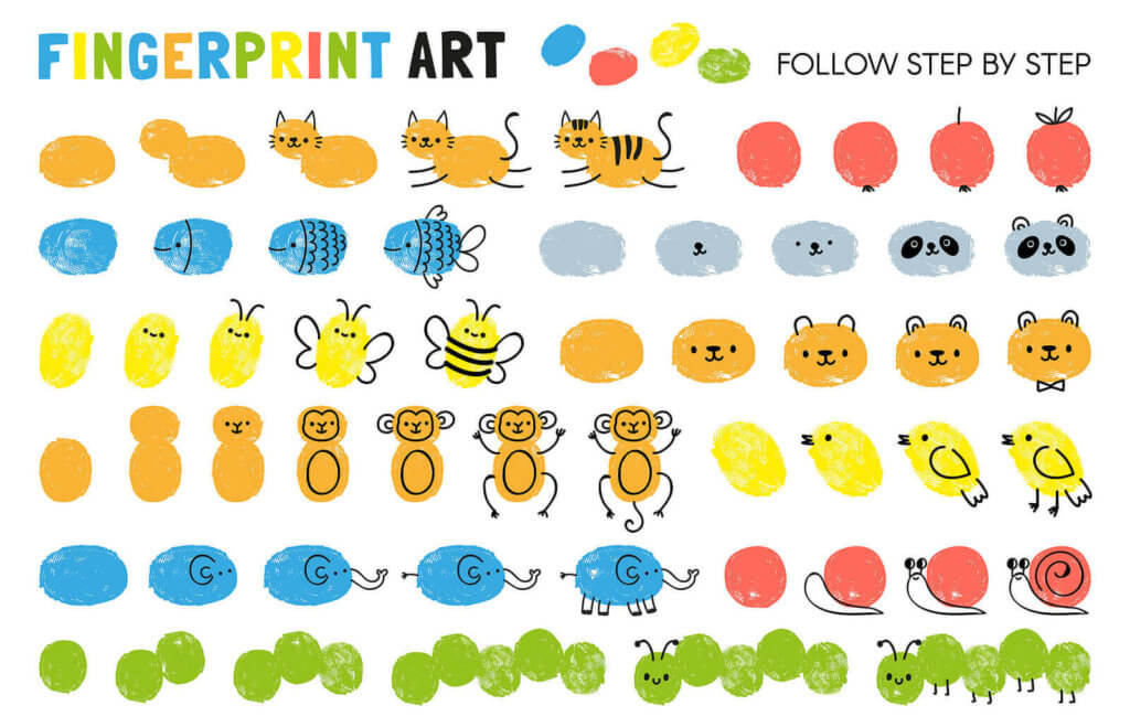 fingerprint art, making animals from fingerprint stamps
