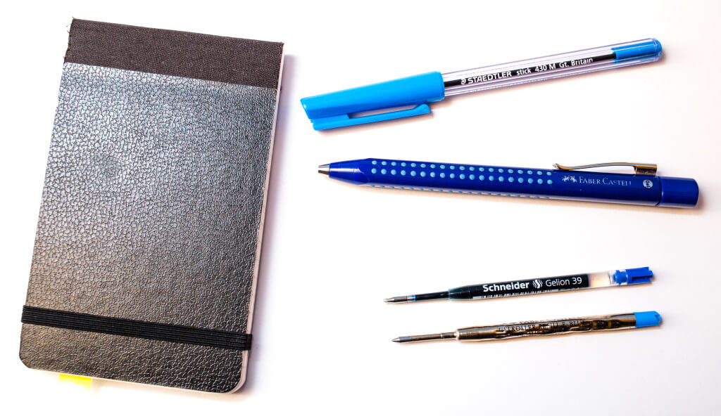 Faber-Castell Grip 2011, Silvine 190 notebook, Staedtler stick and Schneider Gelion 39