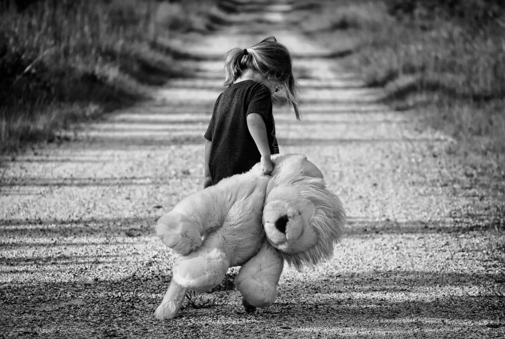 sad girl with teddybear