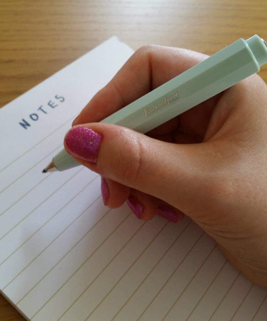The Kaweco Skyline Sport ballpoint pen in hand