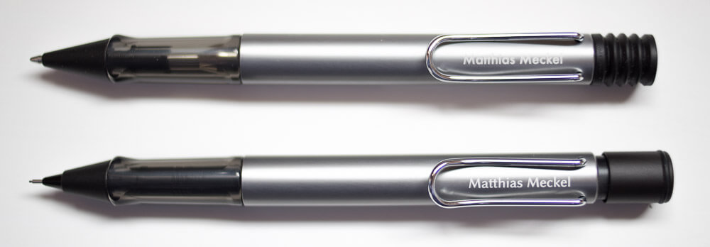 Top: ballpoint pen with Futura font engraving, bottom: mechanical pencil with Biolinum font engraving (free alternative to Optima)