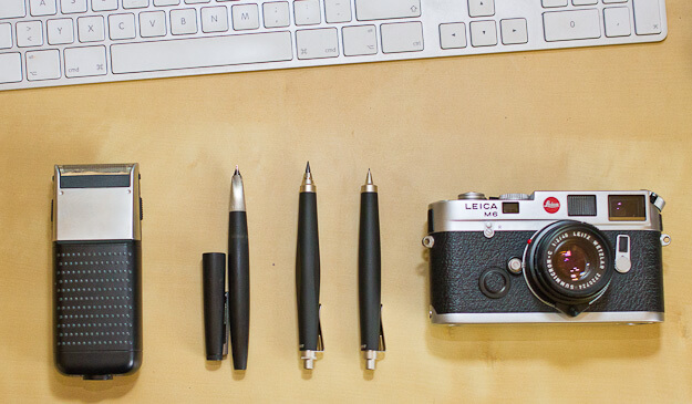 Black and Silver (Braun, Lamy 2000, 2x Lamy scribble, Leica - unfortunately I couldn't fit an iMac into this picture as well)