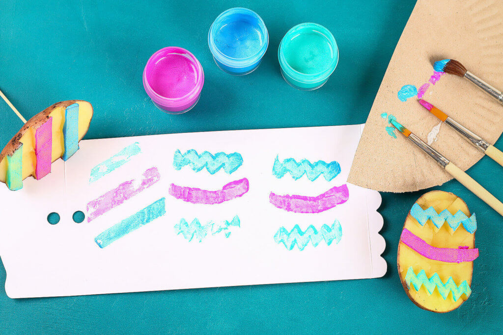 potato stamping and printing for Easter