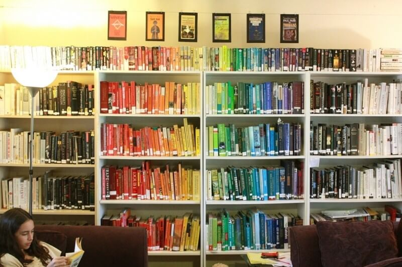 A rainbow of library books. Photo by mind on fire.