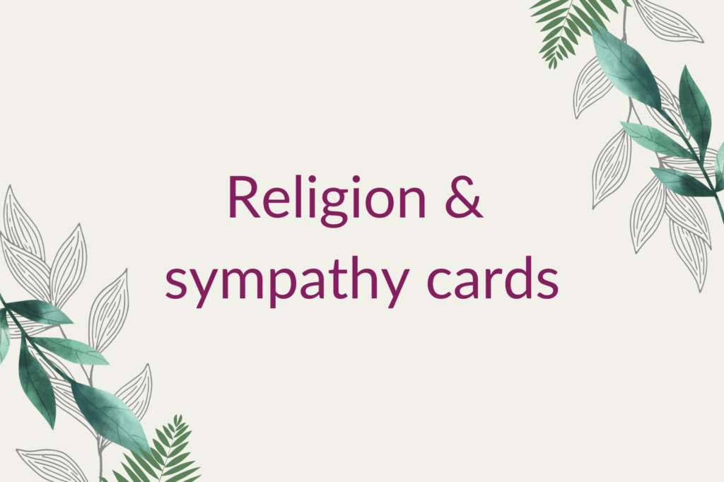 Purple text saying 'Religion & sympathy cards', surrounded by green foliage.