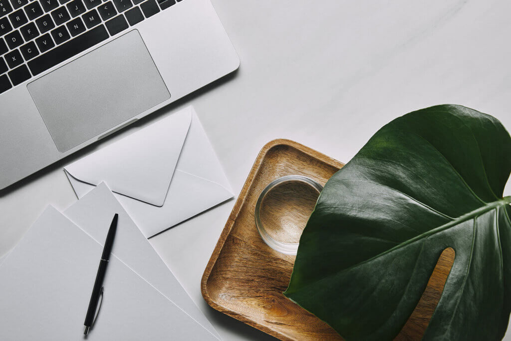 A table with stationery, a laptop, a tray and a plant on it