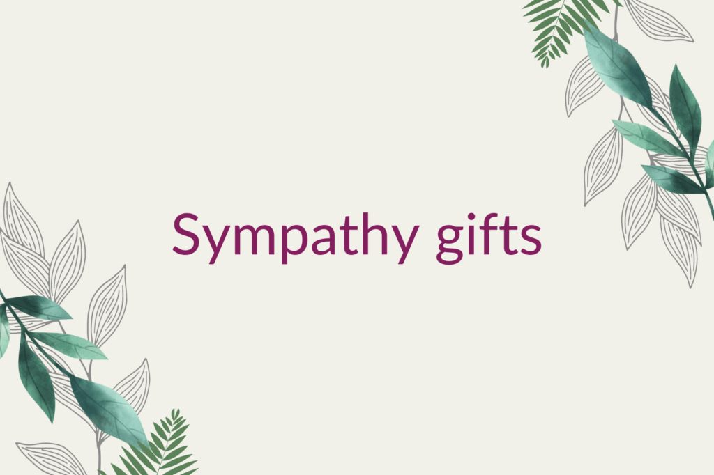 Purple text saying 'Sympathy gifts', surrounded by green foliage