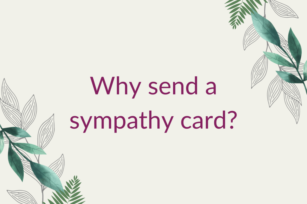 Purple text saying 'Why send a sympathy card?', surrounded by green foliage