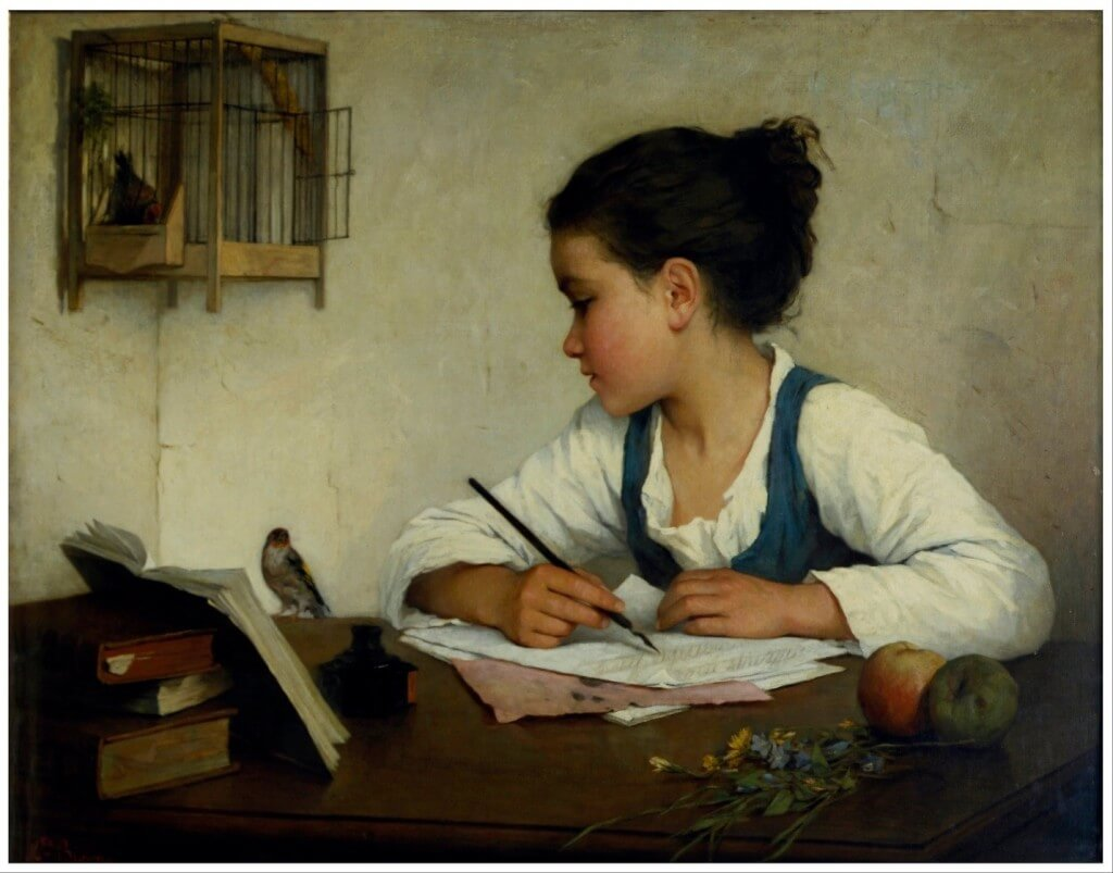 woman-using-quill-pen